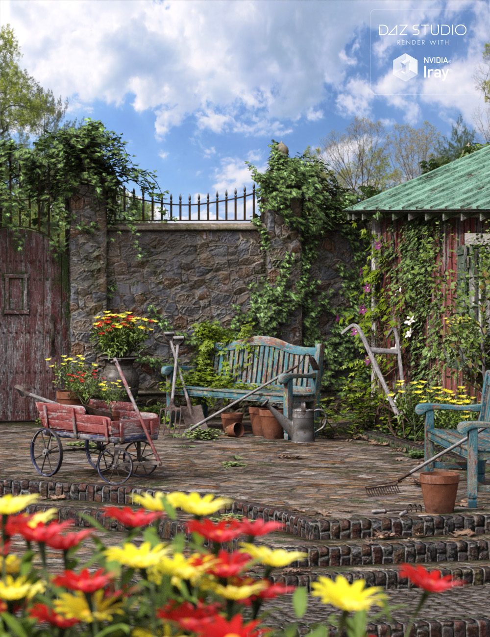 Old Garden - Full Suite RTR and HDRI by: Dumor3D, 3D Models by Daz 3D