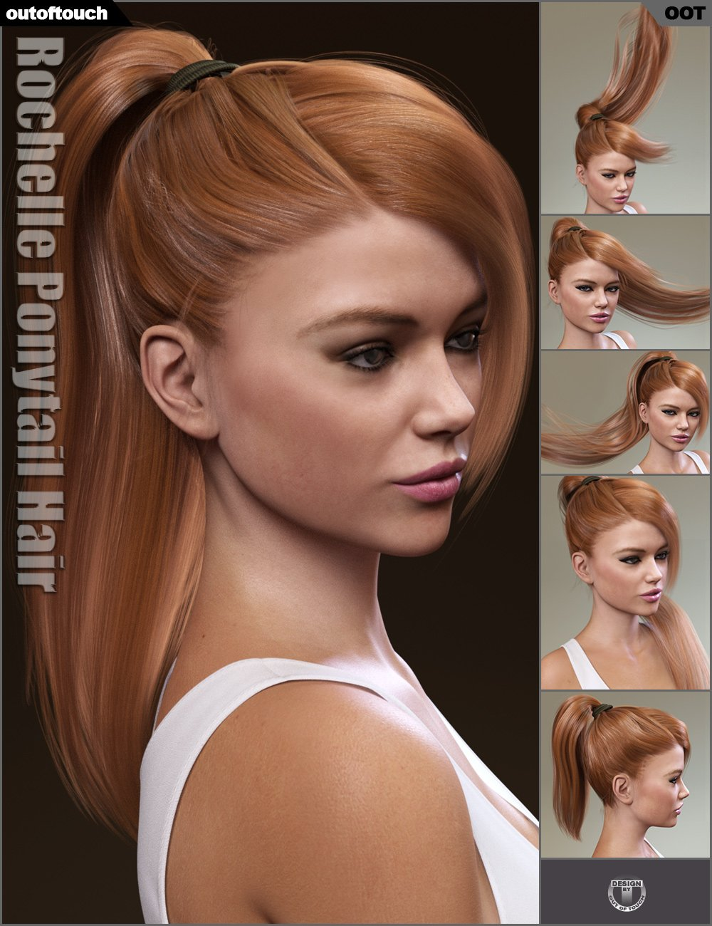 Rochelle Ponytail Hair for Genesis 3 Female(s) by: outoftouch, 3D Models by Daz 3D