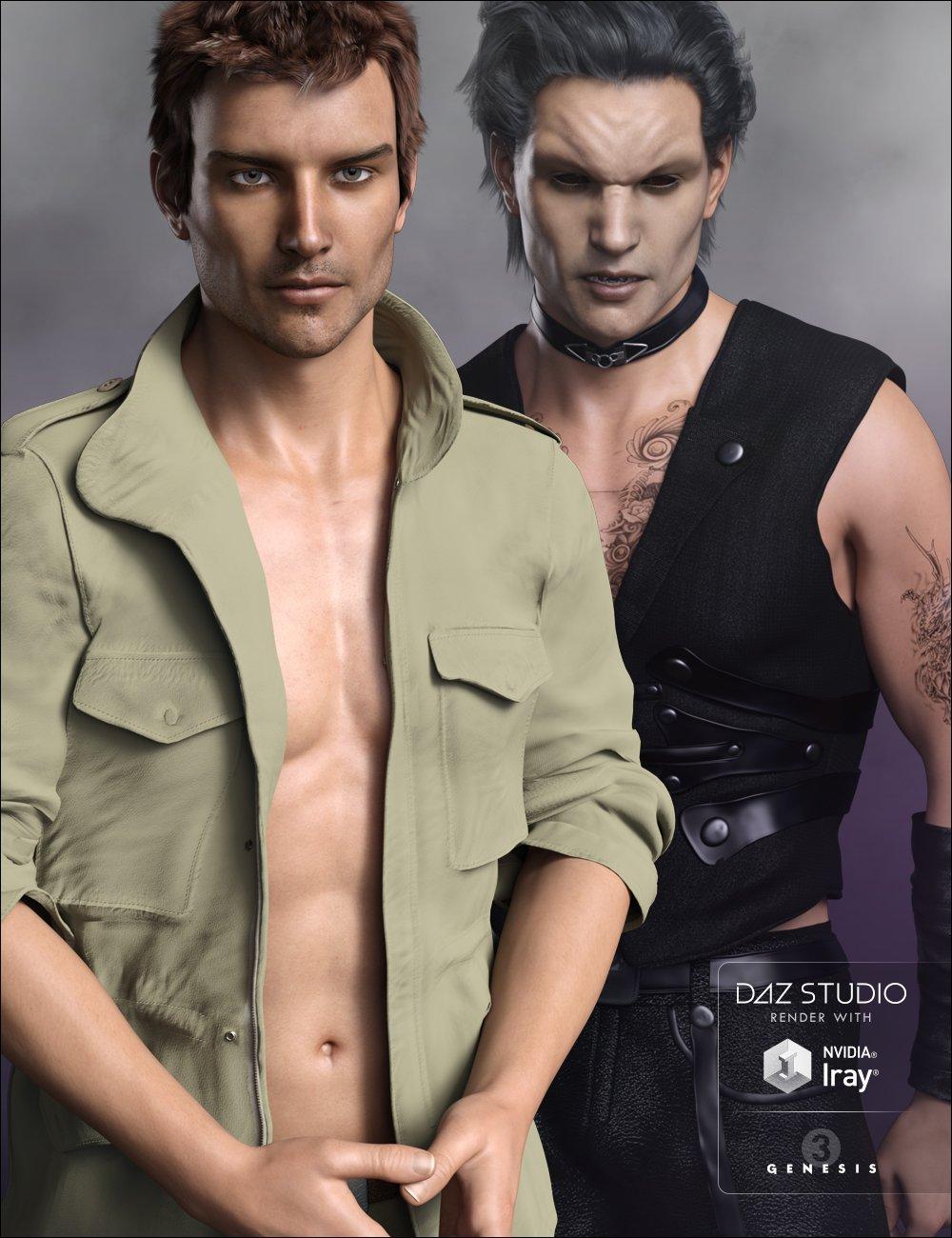 FWSA Liam HD + Vampire and Hunter Kit Bundle by: Fred Winkler ArtSabbyFisty & DarcSedor, 3D Models by Daz 3D