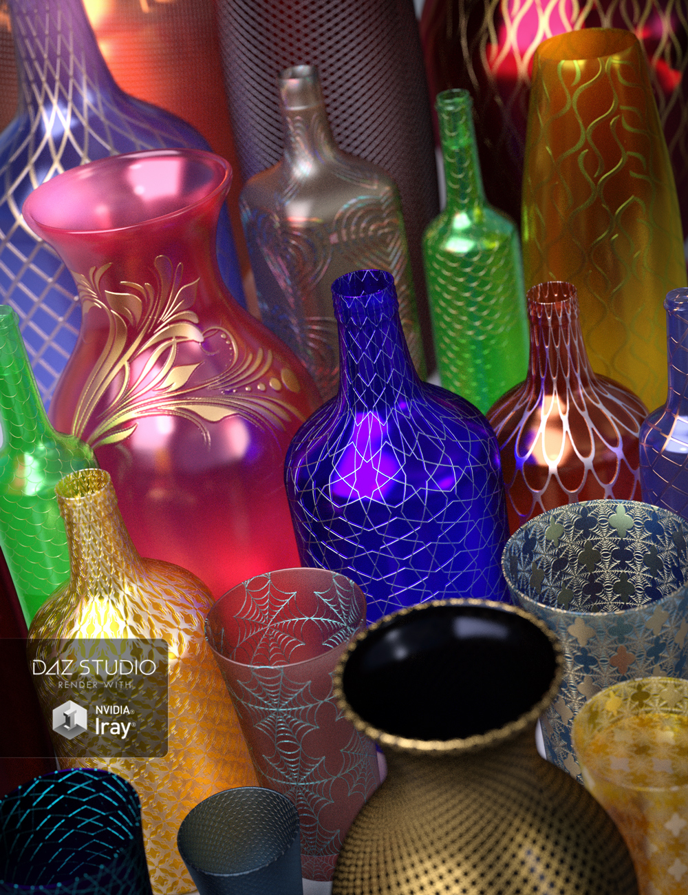 Ornate Glass Iray Shaders by: JGreenlees, 3D Models by Daz 3D
