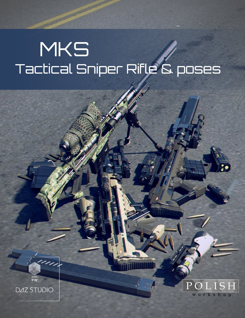 MKS Tactical Sniper Rifle and Poses by: Polish, 3D Models by Daz 3D