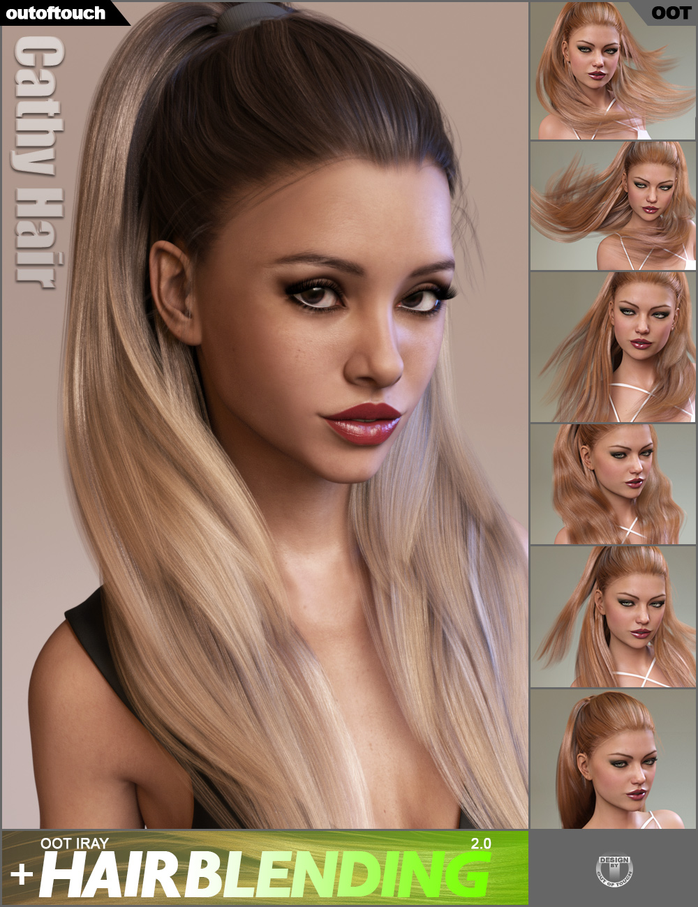 Cathy Hair and OOT Hairblending 2.0 by: outoftouch, 3D Models by Daz 3D