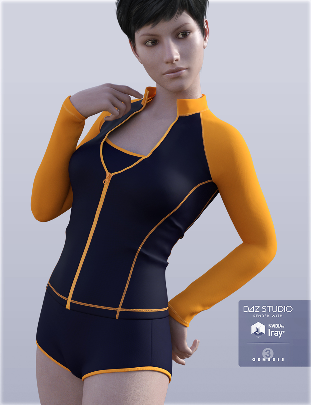 H&C Zip Front Rash Guards for Genesis 3 Female(s) by: IH Kang, 3D Models by Daz 3D
