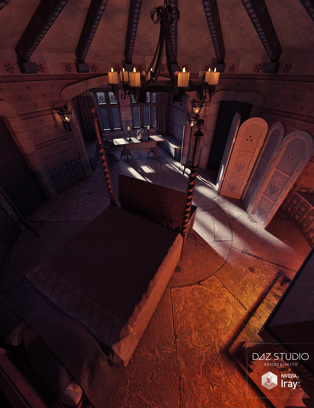 Medieval Tower Bedroom by: ForbiddenWhispersDavid Brinnen, 3D Models by Daz 3D