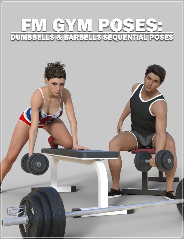 FM Gym Poses: Dumbbells & Barbells by: Flipmode, 3D Models by Daz 3D