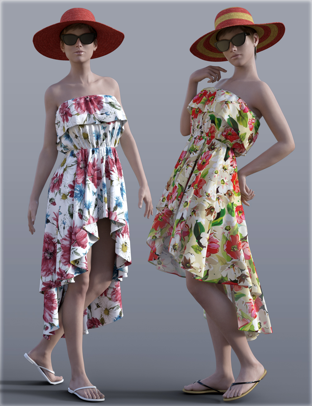 H&C Beach Dress for Genesis 3 Female(s) by: IH Kang, 3D Models by Daz 3D