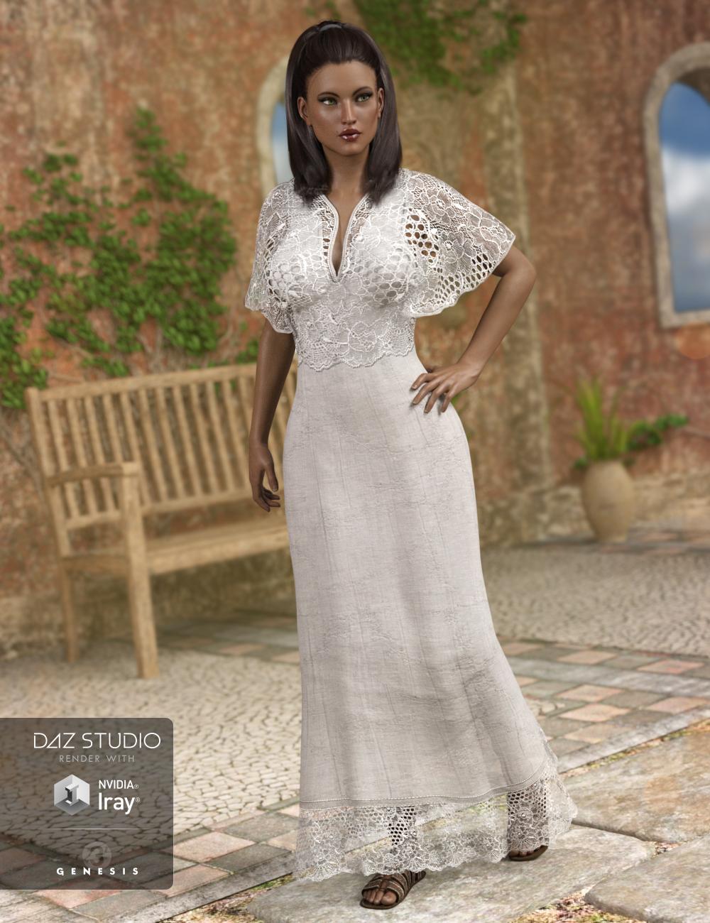 Summer Maxi Dress for Genesis 3 Female(s) by: Barbara BrundonSarsa, 3D Models by Daz 3D