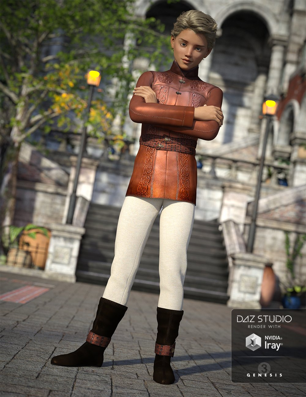 Medieval Prince Outfit for Genesis 3 Male(s) by: OziChickShox-Design, 3D Models by Daz 3D