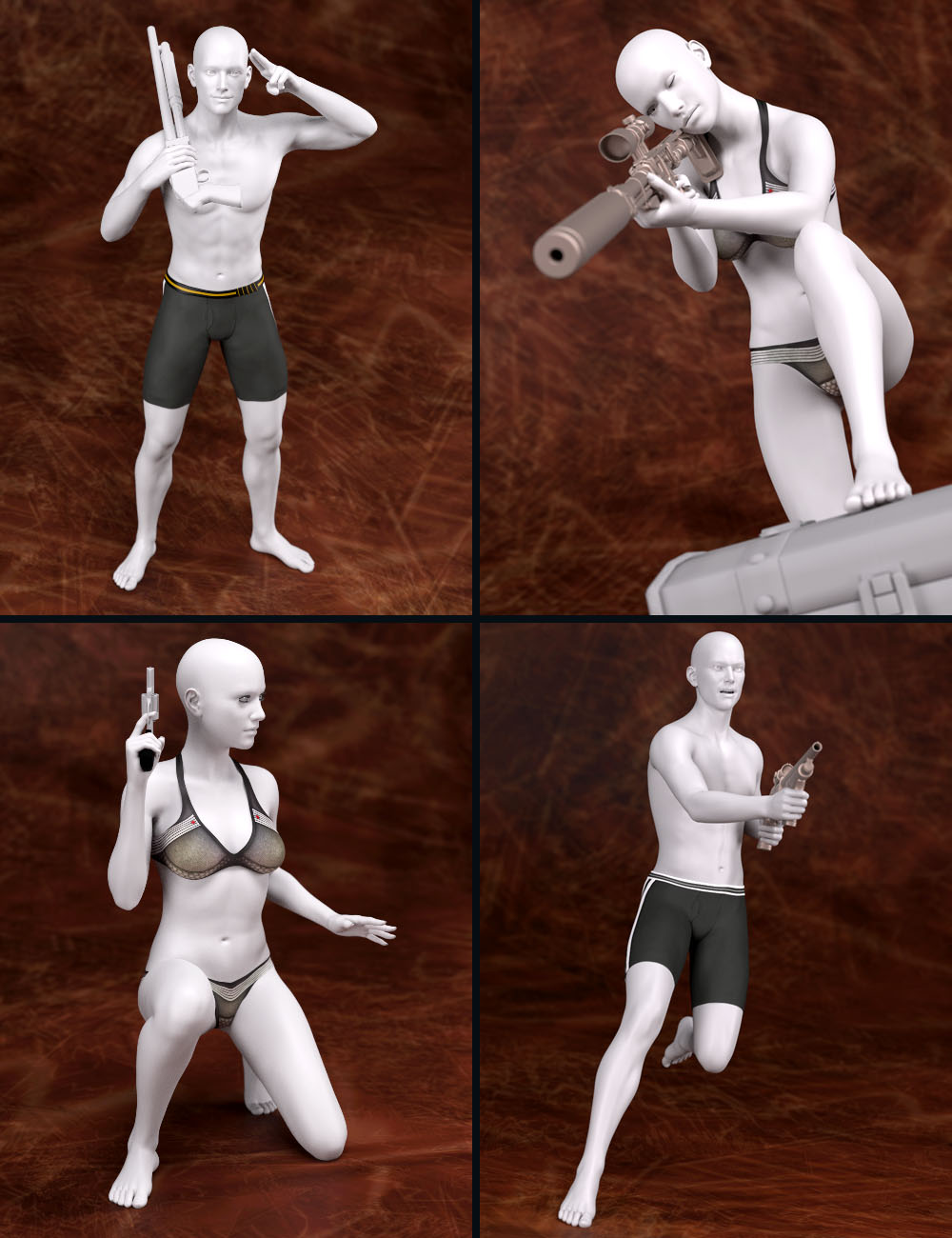 Trigger Happy Poses for Genesis 2 and Genesis 3 Male(s) and Female(s) by: Tako Yakida, 3D Models by Daz 3D