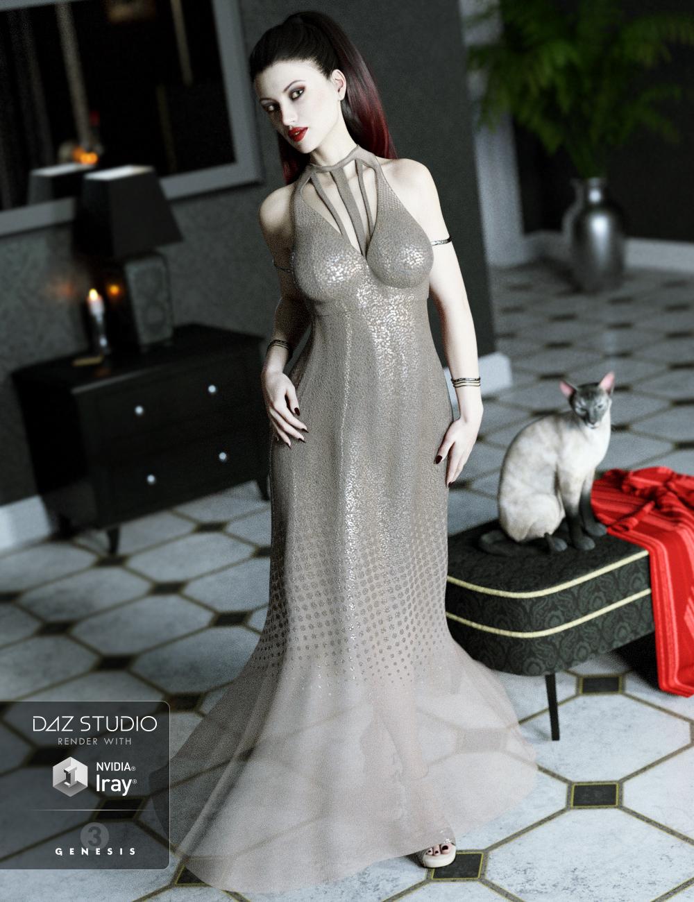 The Maxi Dress for Genesis 3 Female(s) by: ArienBarbara Brundon, 3D Models by Daz 3D
