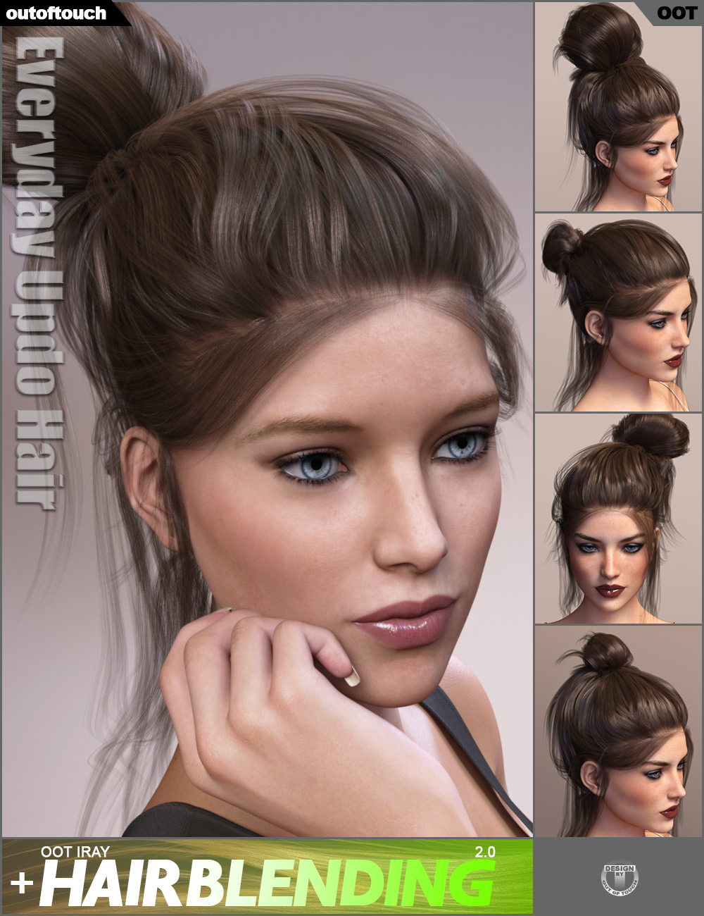 Everyday Updo Hair and OOT Hairblending 2.0 for Genesis 3 Female(s) by: outoftouch, 3D Models by Daz 3D