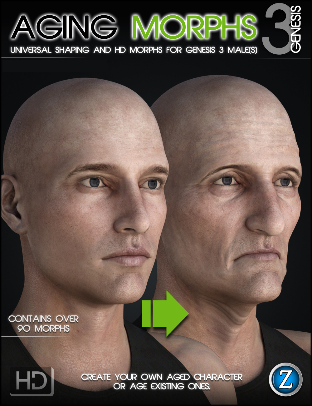 Aging Morphs 3 for Genesis 3 Male(s) by: Zev0, 3D Models by Daz 3D