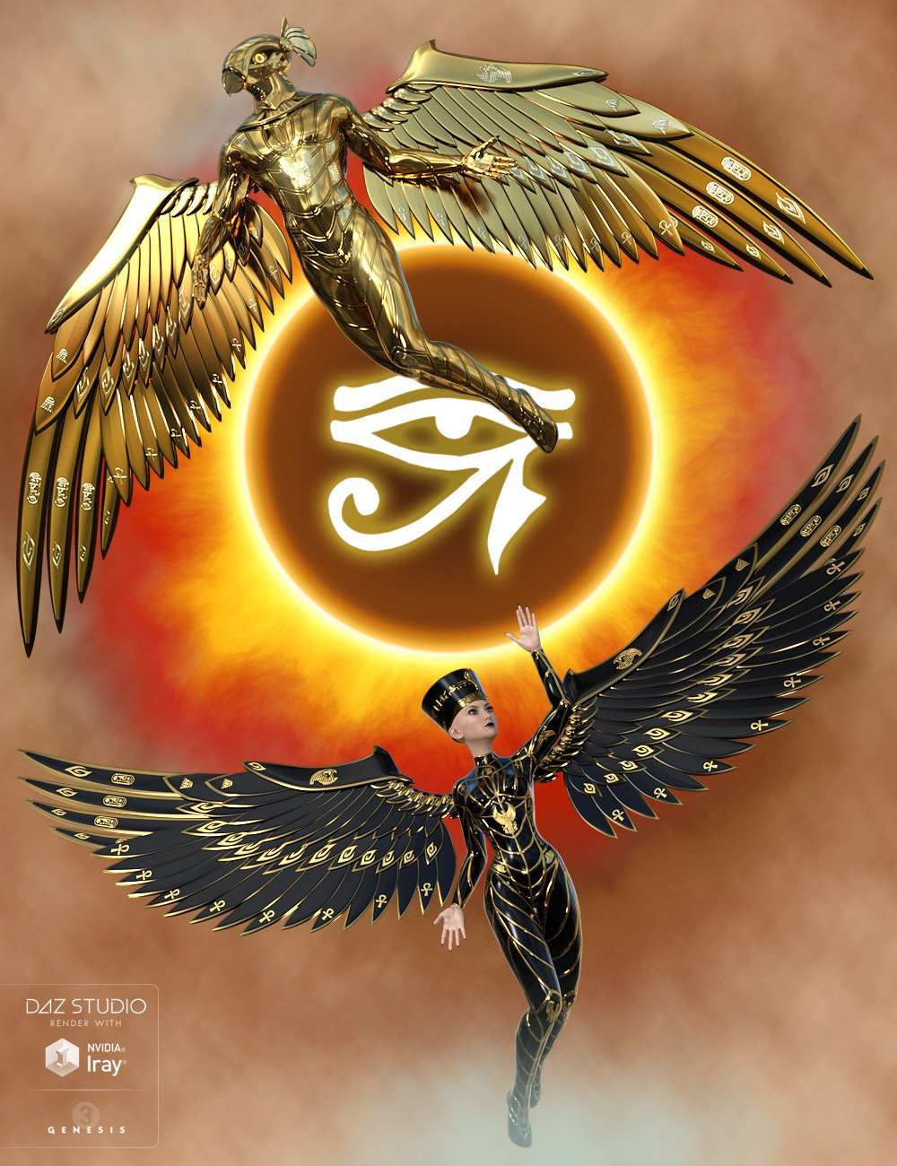 Wings of Horus for Genesis 3 by: midnight_stories, 3D Models by Daz 3D