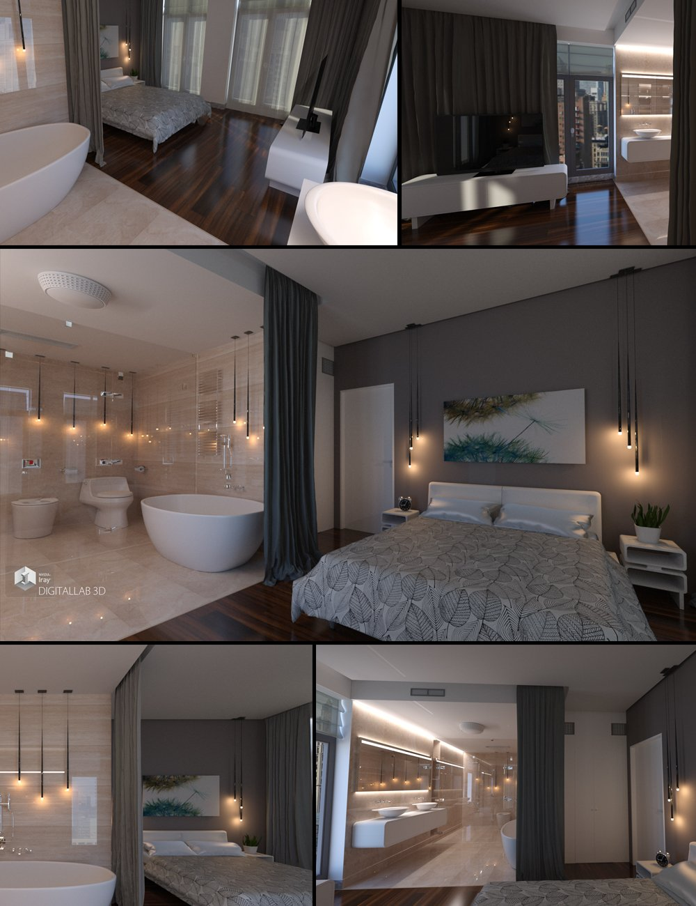 Designer Bedroom by: Digitallab3D, 3D Models by Daz 3D