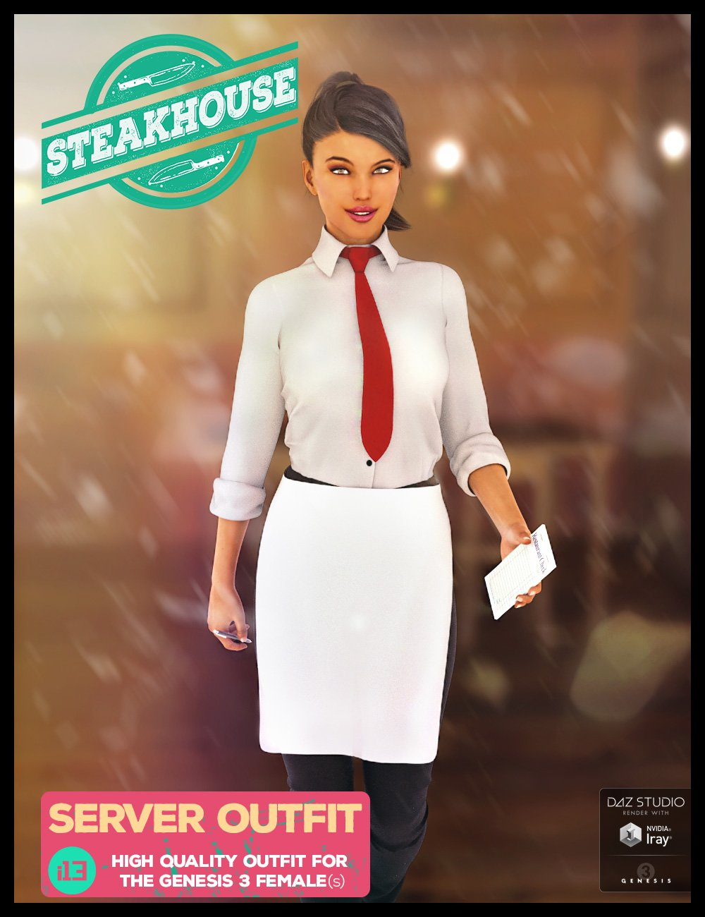 i13 Steakhouse Server Outfit for the Genesis 3 Female(s) by: ironman13, 3D Models by Daz 3D