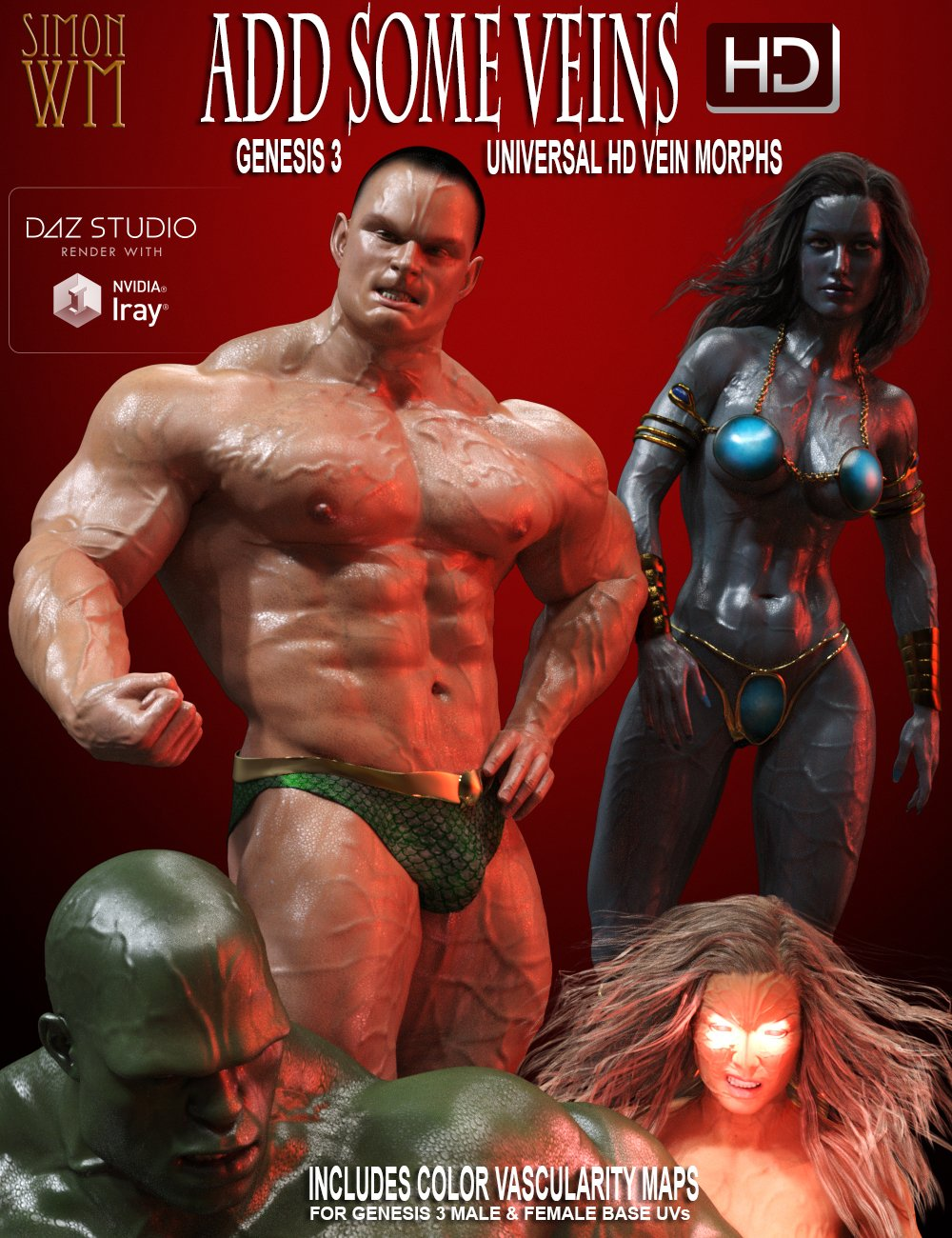 Add Some Veins HD for Genesis 3 by: SimonWM, 3D Models by Daz 3D