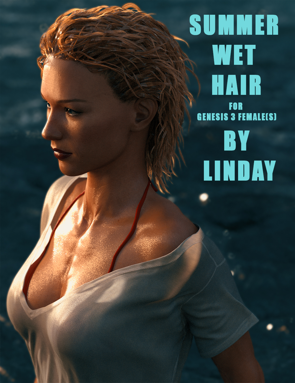 Summer Wet Hair for Genesis 3 Female(s) by: Linday, 3D Models by Daz 3D