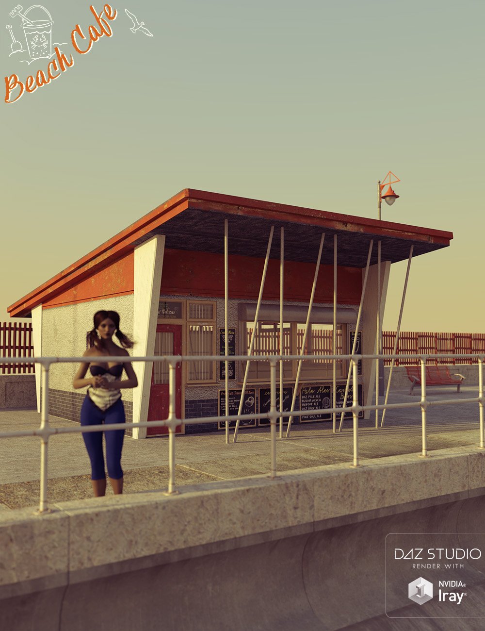 Beach Cafe Construction Kit by: David BrinnenForbiddenWhispers, 3D Models by Daz 3D