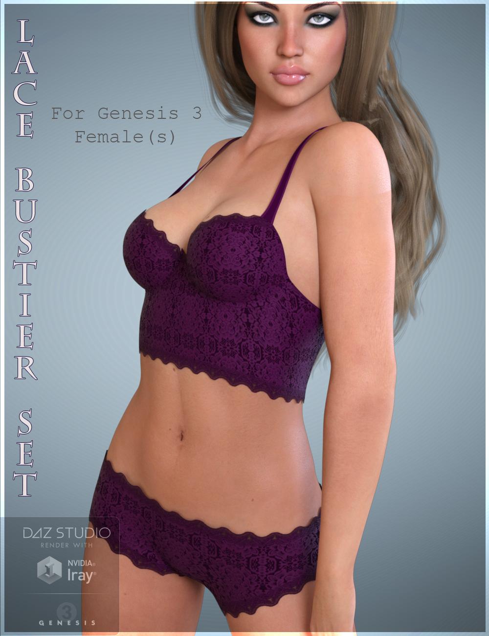 Lace Bustier Set for Genesis 3 Female(s) by: Nikisatez, 3D Models by Daz 3D
