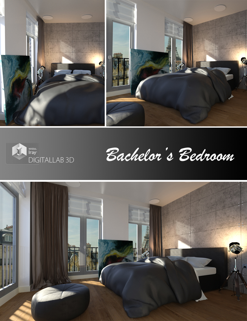Bachelor's Bedroom by: Digitallab3D, 3D Models by Daz 3D