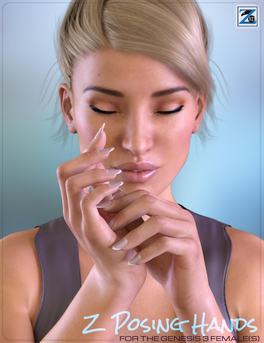 Z Posing Hands for the Genesis 3 Female(s) by: Zeddicuss, 3D Models by Daz 3D