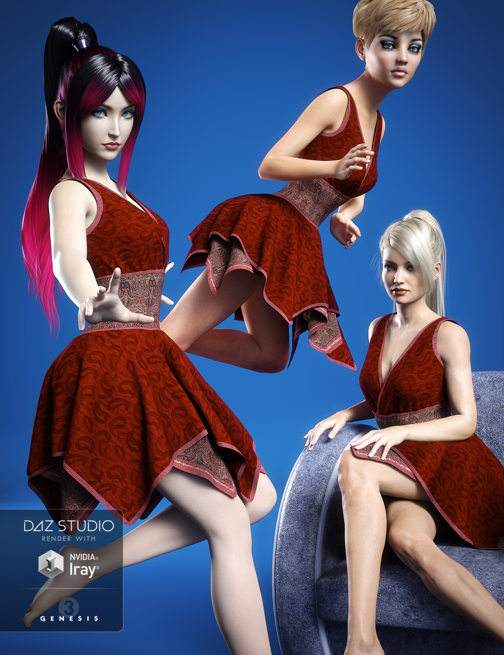 Hinata Dress Morphs by: Aave Nainen, 3D Models by Daz 3D