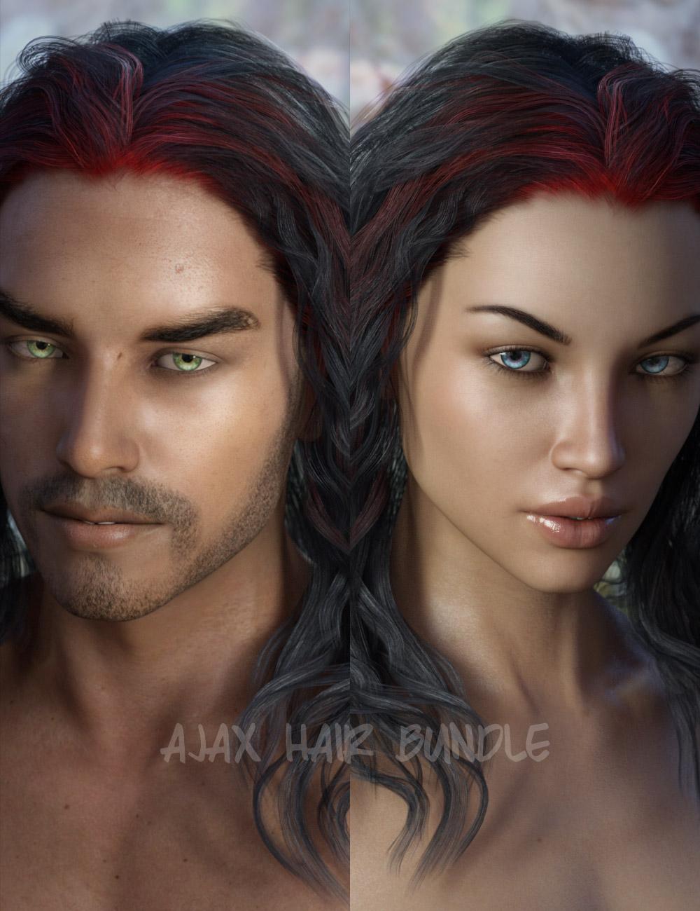 Ajax Hair Bundle for Genesis 3 by: AprilYSH, 3D Models by Daz 3D