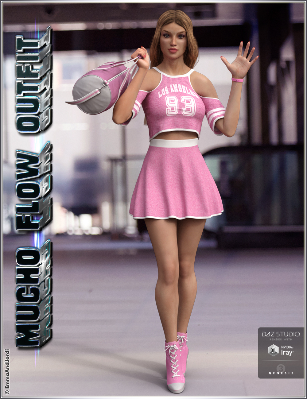 Mucho Flow Outfit and Accessories for Genesis 3 Female(s) by: EmmaAndJordi, 3D Models by Daz 3D