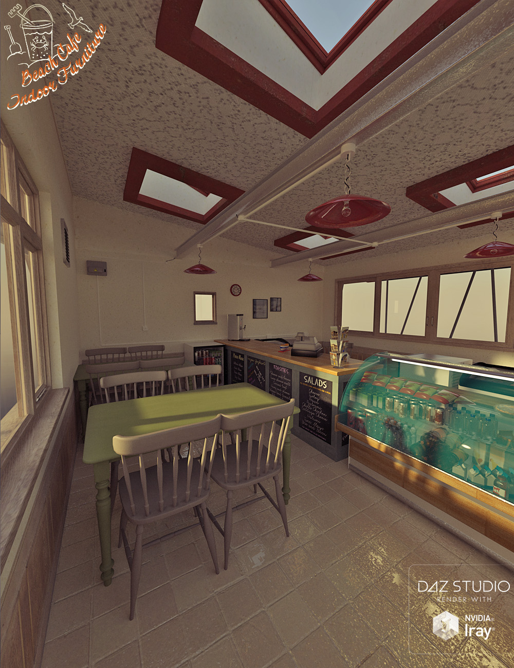 Beach Cafe Interior Furniture by: David BrinnenForbiddenWhispers, 3D Models by Daz 3D