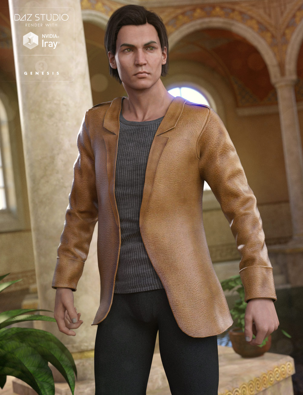 Leather Style Outfit for Genesis 3 Male(s) by: 4blueyes, 3D Models by Daz 3D
