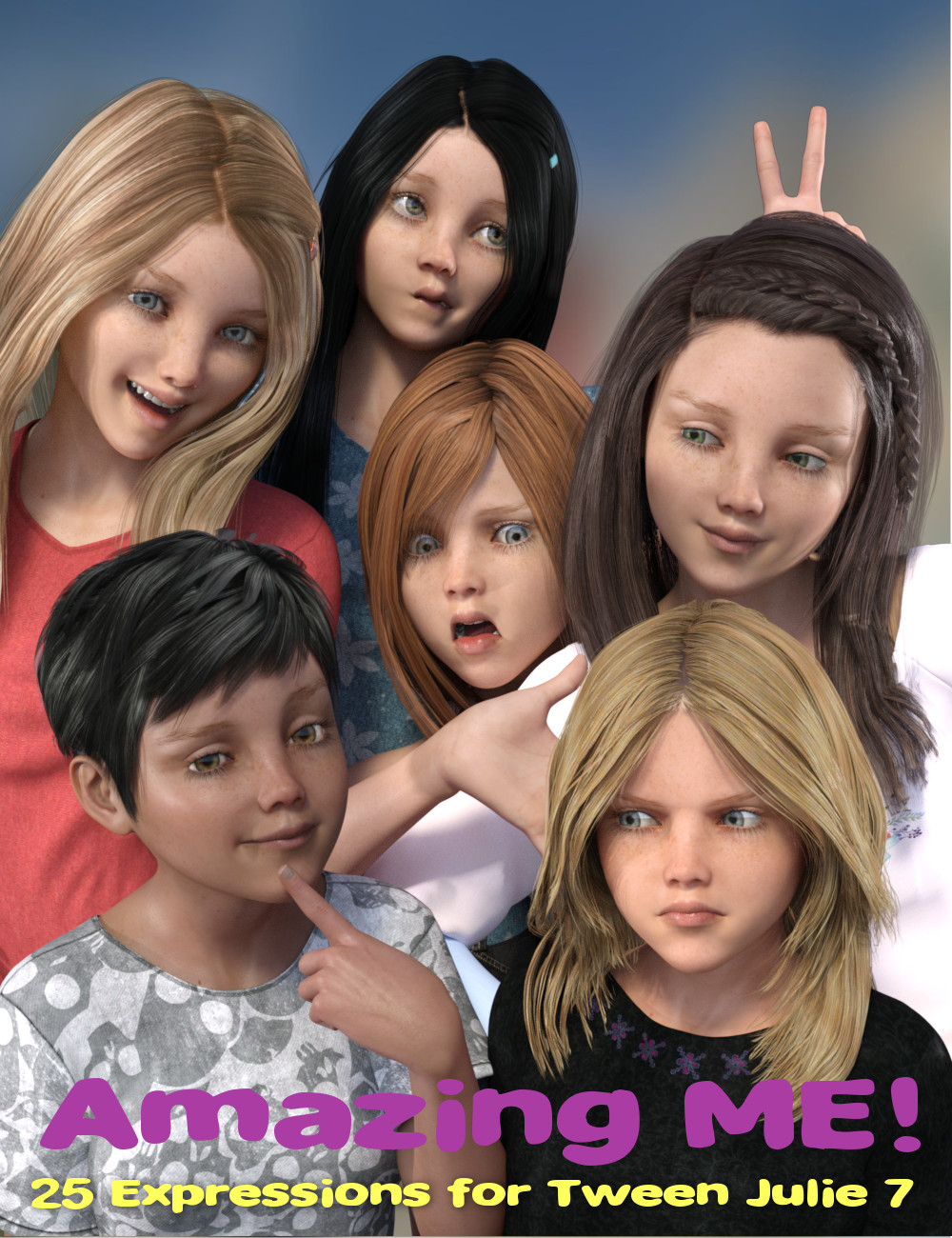 Amazing ME! 25 Expressions for Tween Julie 7 by: Sharktooth, 3D Models by Daz 3D