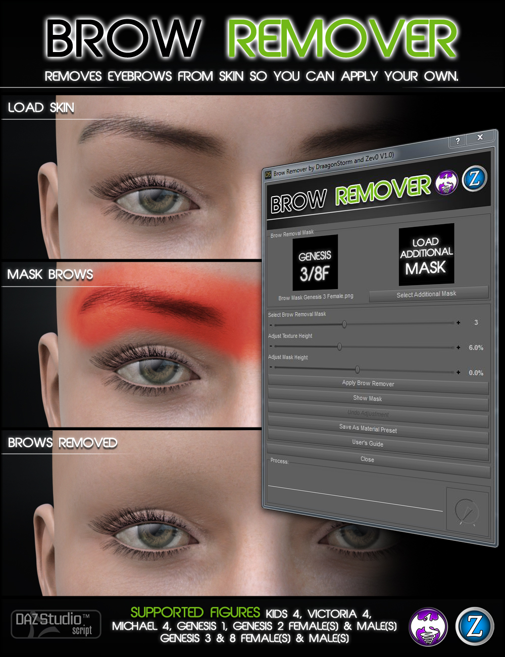 Brow Remover for Daz Studio by: Zev0DraagonStorm, 3D Models by Daz 3D
