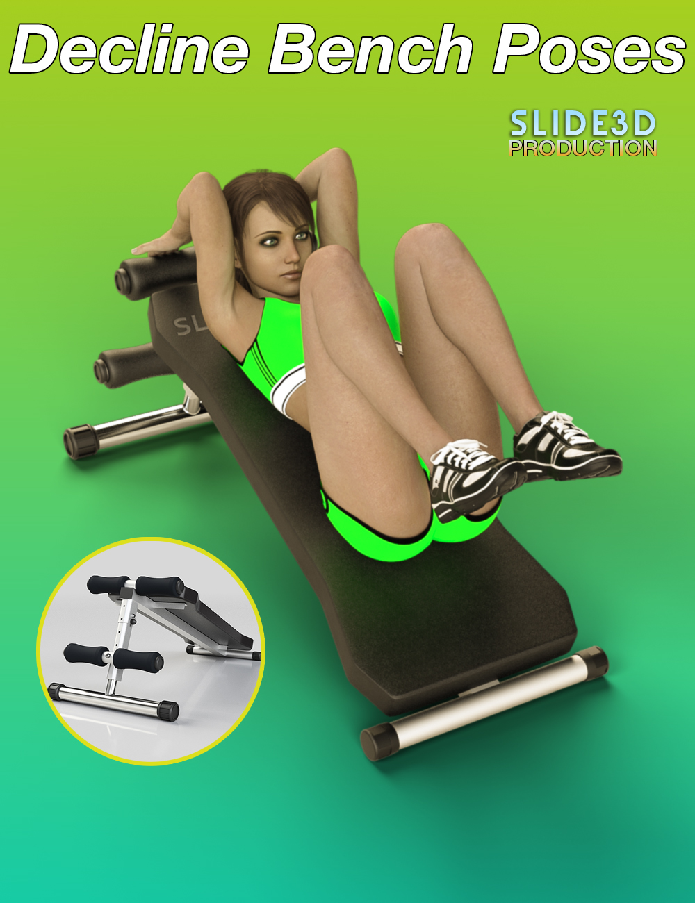 Slide3D Sport Poses with Decline Bench for Genesis 3 Female(s) by: Slide3D, 3D Models by Daz 3D