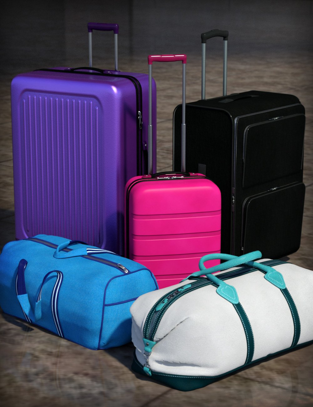 Travel Baggage by: esha, 3D Models by Daz 3D