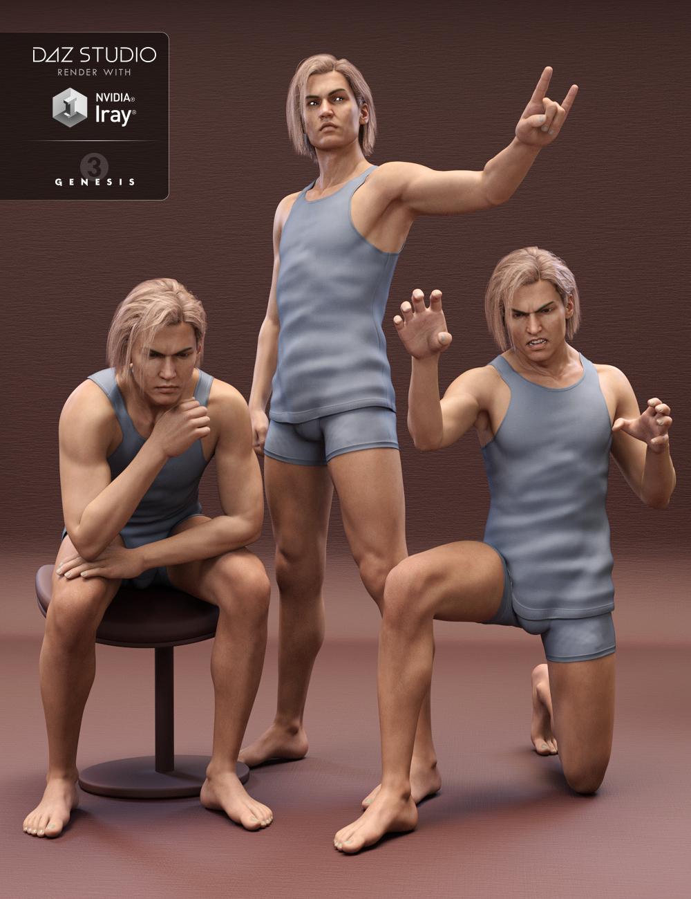 Z Volatile - Poses for Lucian 7 & Genesis 3 Male by: Zeddicuss, 3D Models by Daz 3D