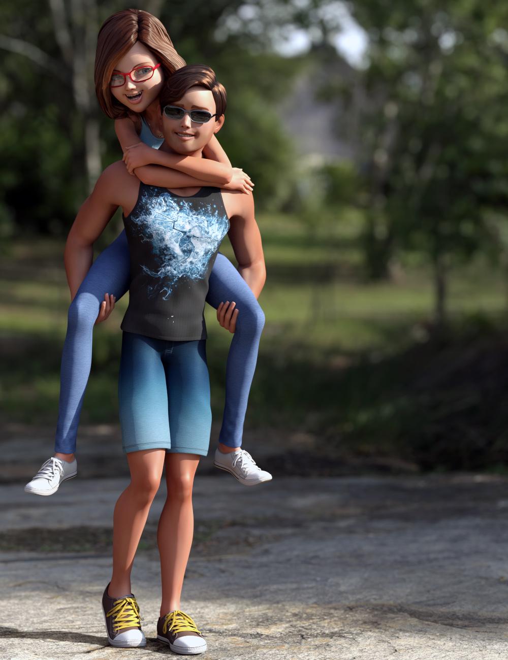 Stylized Megan and Matt Mega Bundle for Genesis 3 Female(s) and Male(s) by: 3D Universe, 3D Models by Daz 3D