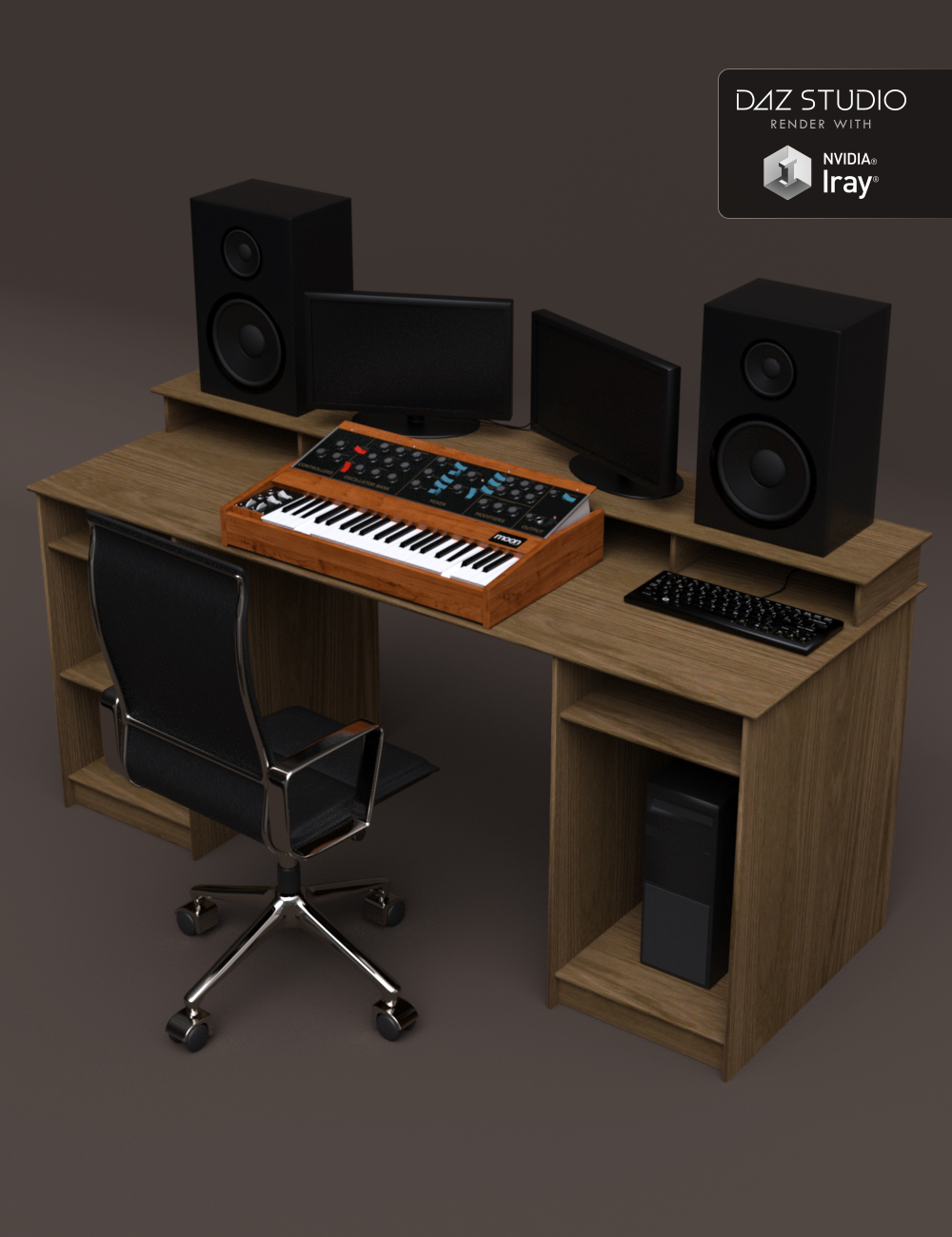 Studio Desk and Retro Synth by: Moonscape Graphics, 3D Models by Daz 3D