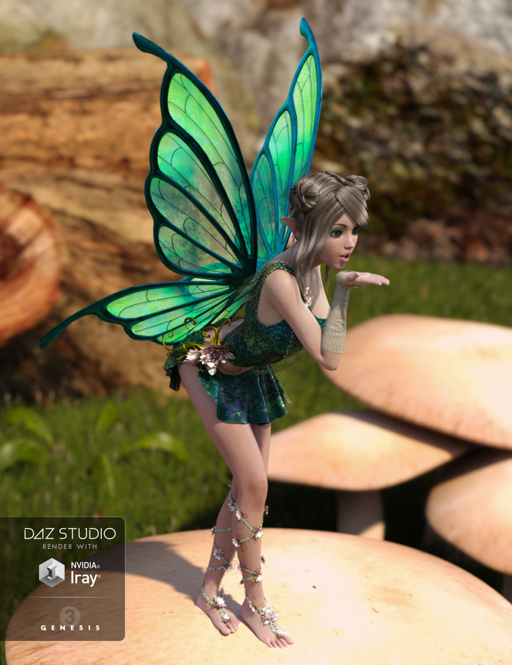 RW Butterfly Wings for Genesis 3 Female(s) by: Renderwelten, 3D Models by Daz 3D