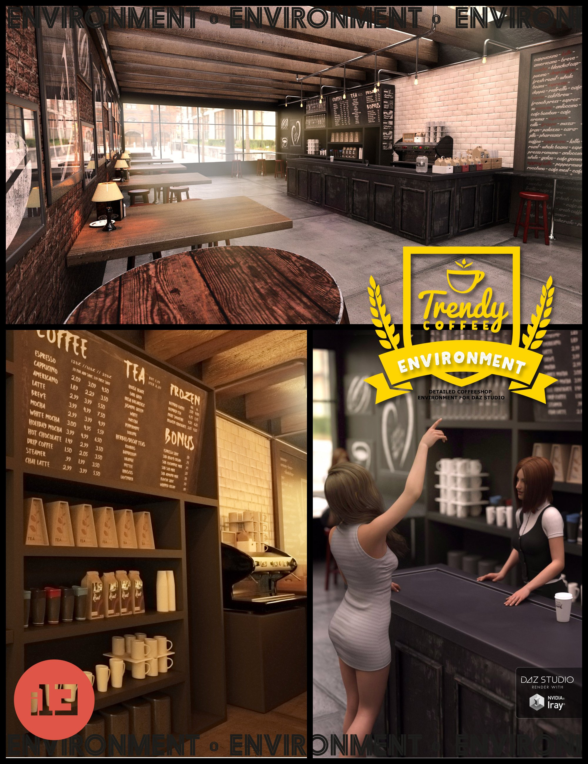 i13 Trendy Coffee Shop Environment by: ironman13, 3D Models by Daz 3D