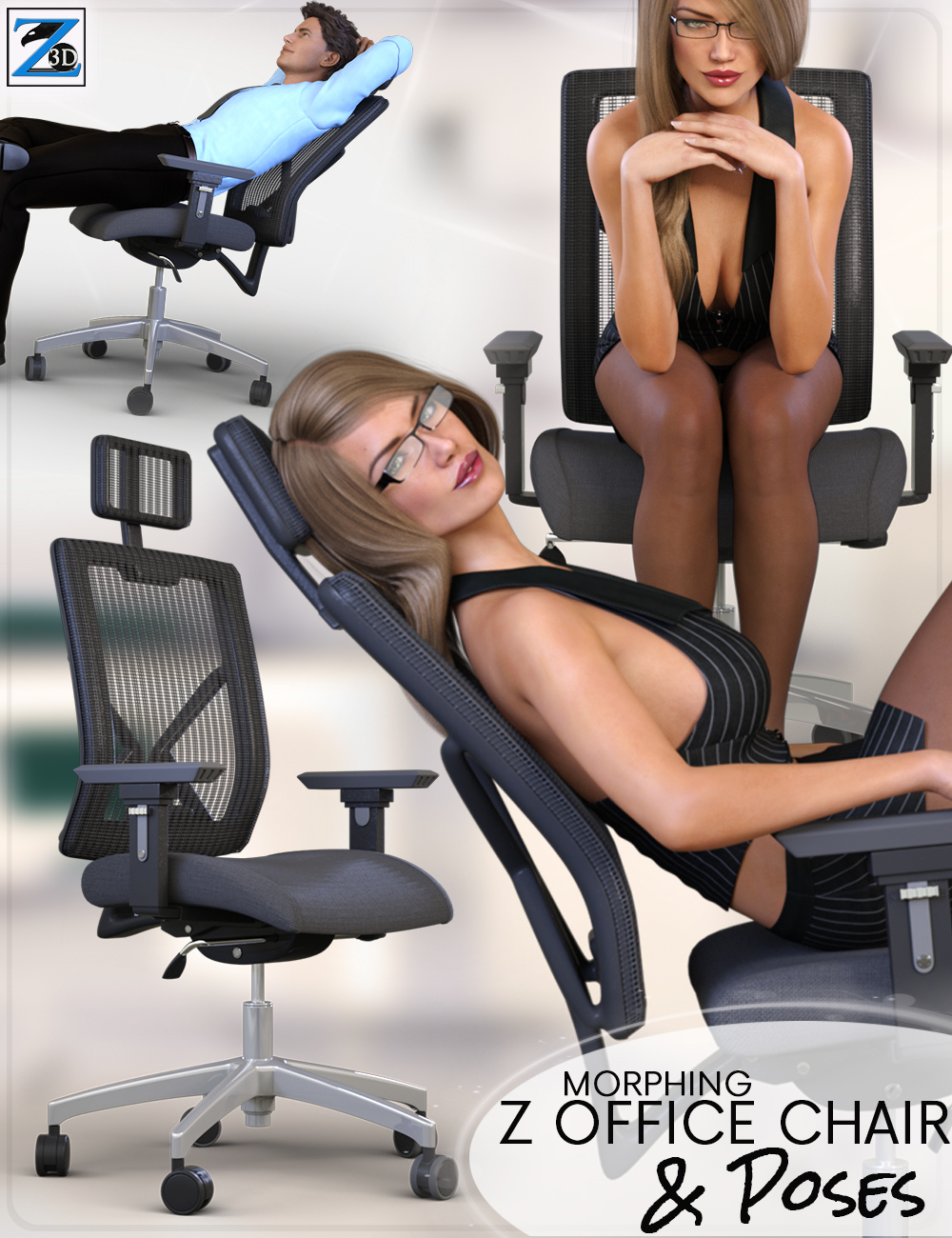 Z Morphing Office Chair & Poses by: Zeddicuss, 3D Models by Daz 3D
