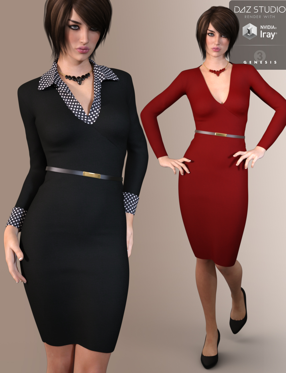 9 To 5 Dress Outfit for Genesis 3 Female(s) by: Nikisatez, 3D Models by Daz 3D
