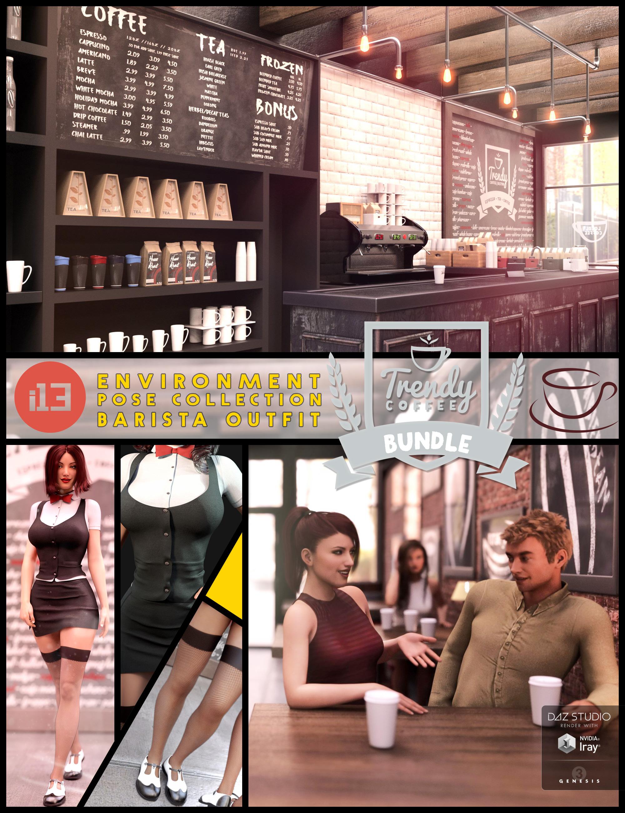 i13 Trendy Coffee Shop Bundle by: ironman13, 3D Models by Daz 3D