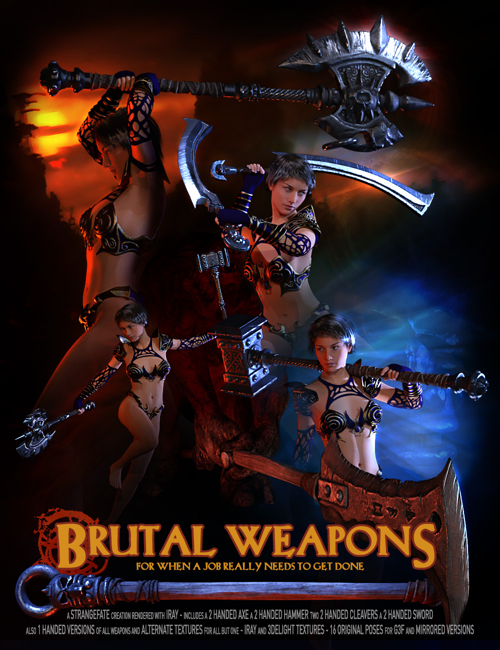 Brutal Weapons and Poses by: Strangefate, 3D Models by Daz 3D