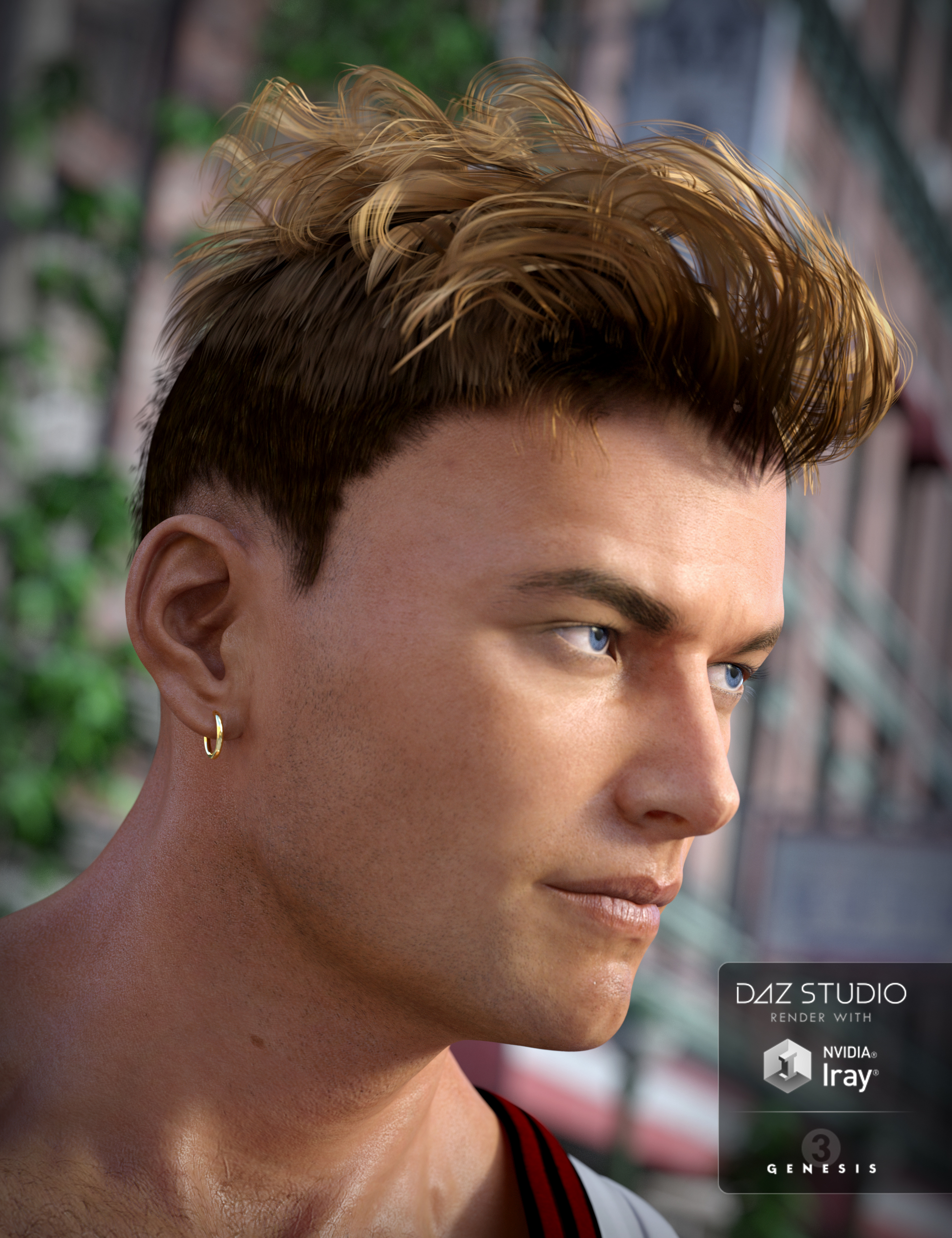 Heart Throb Hair for Genesis 3 Males by: goldtassel, 3D Models by Daz 3D