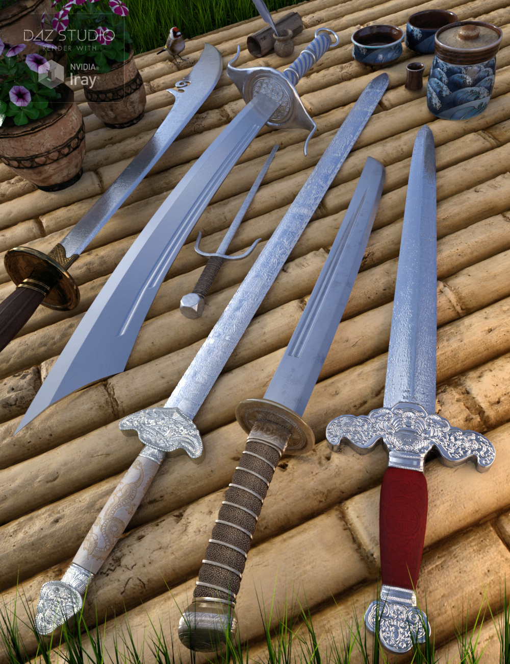 Chinese Blades for Genesis 3 and 8 Male(s) and Female(s) by: Merlin Studios, 3D Models by Daz 3D