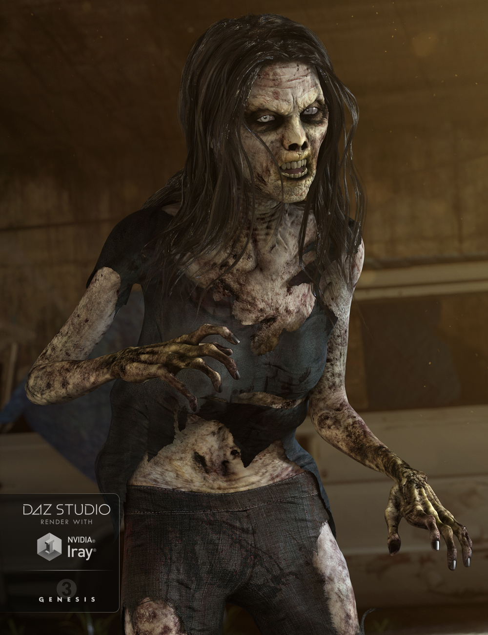 Lucille Zombie for Genesis 3 Female(s) by: , 3D Models by Daz 3D