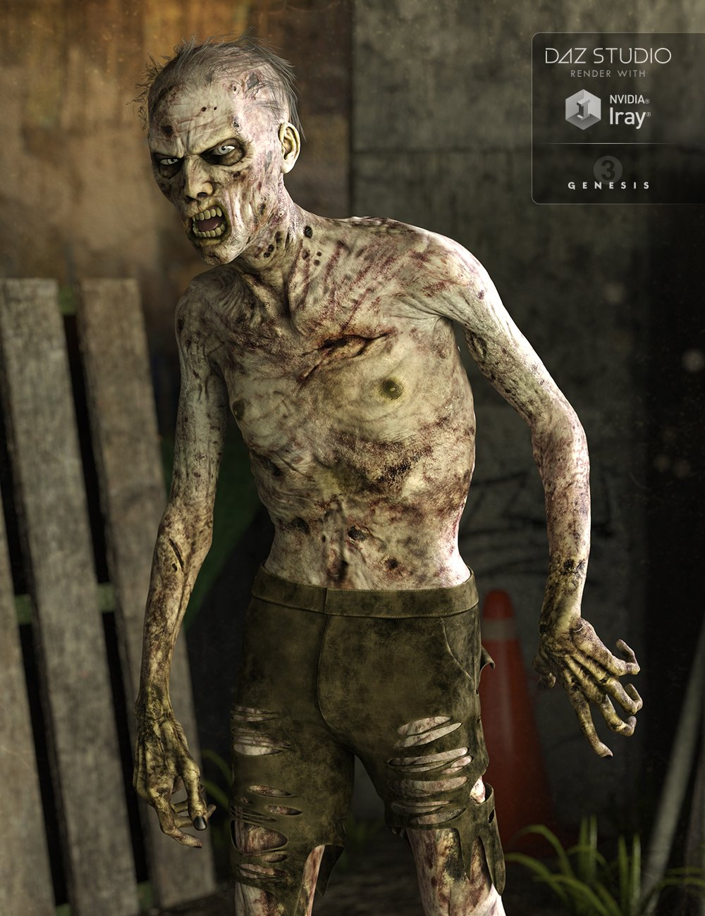Markus Zombie for Genesis 3 Male(s) by: , 3D Models by Daz 3D