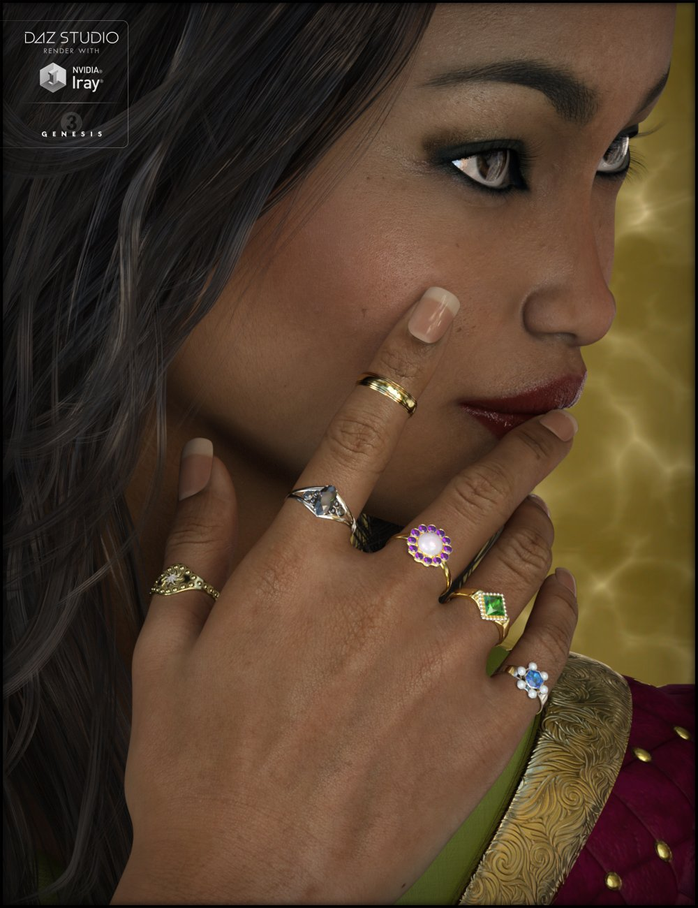 Ring Collection for Genesis 3 Female(s) by: Fisty & Darc, 3D Models by Daz 3D
