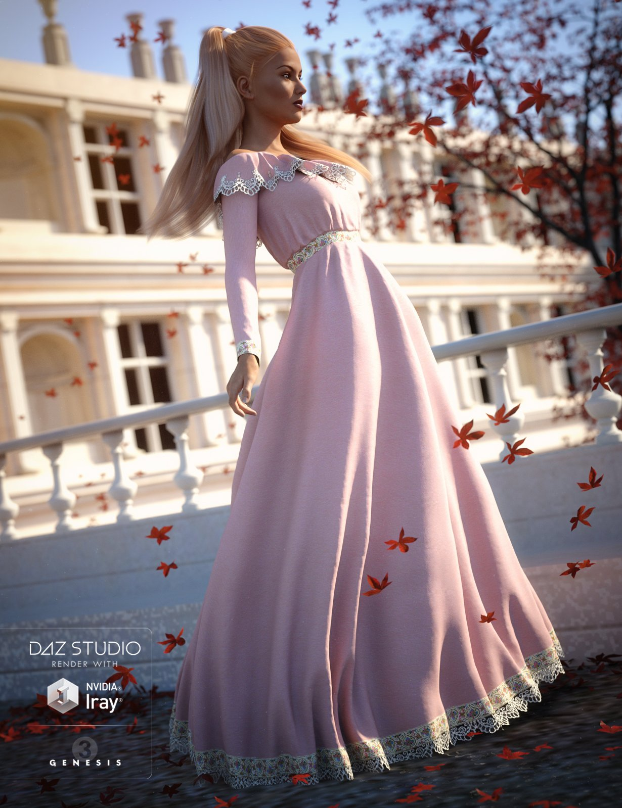 Belle Dress for Genesis 3 Female(s) by: Aave Nainen, 3D Models by Daz 3D