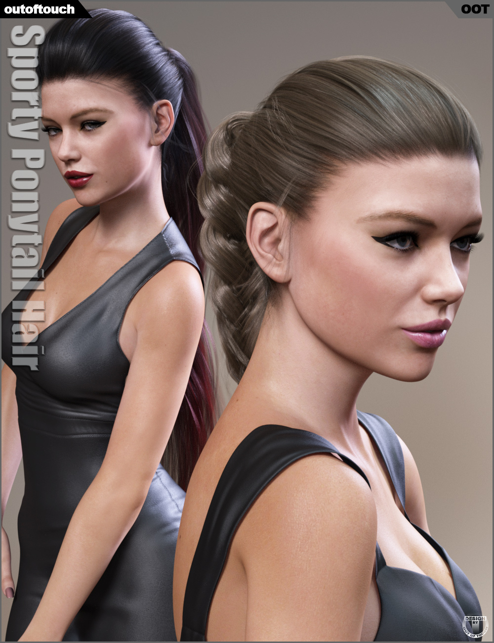 Sporty Ponytail Hair and OOT Hairblending 2.0 for Genesis 3 Female(s) by: outoftouch, 3D Models by Daz 3D